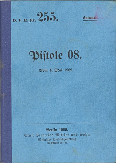 Cover of 1909 Pistole 08 instruction manual