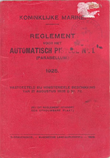 Cover of 1928 Dutch Royal Navy Parabellum manual