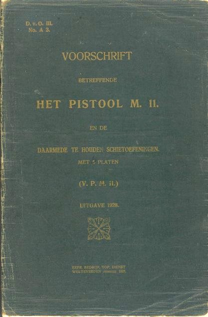 Cover of 1928 M.11 Dutch Army Luger manual