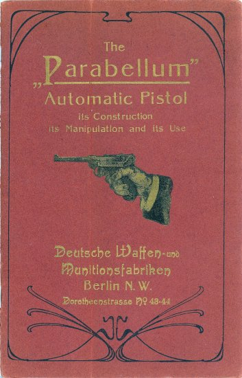 Close-up of back cover of english language 1902 PARABELLUM owner's manual