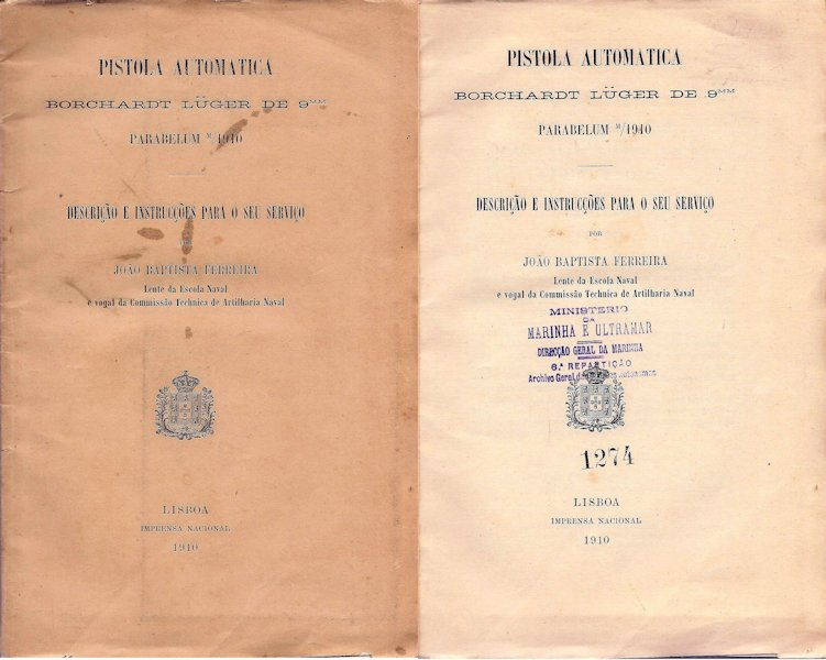 Cover of 1910 Borchardt-Luger Portuguese Navy Luger manual
